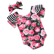 Baby and Toddler Girl Prints Pink Flowers Swimsuit With Hairband