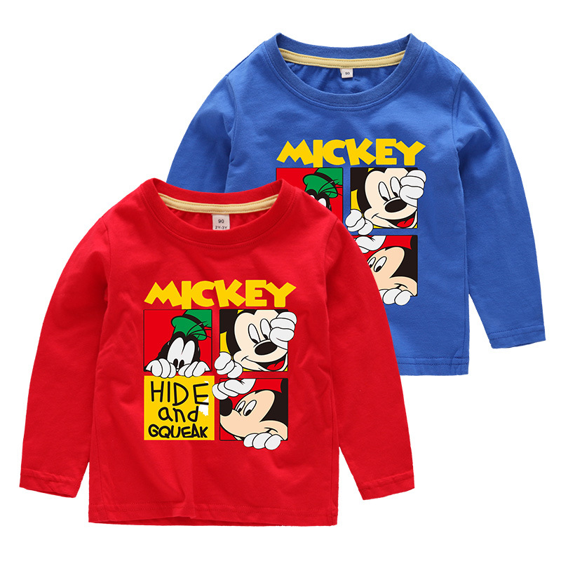 Boys Prints Cartoon Mickey Long Sleeves Tee