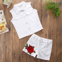 Girls White Denim Vest Top and Embroidery Denim Shorts Two-Piece Outfit