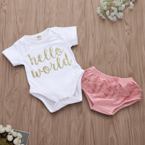 Baby Girl Slogan Short Sleeves Bodysuit and Tutu Shorts Two Pieces Outfits