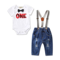 Baby Boy Print One Bodysuit and Overall Jeans Two Pieces Outfits