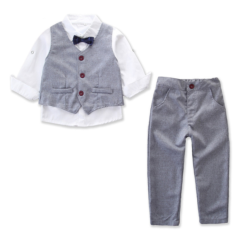 Boys 3-Piece Outfits Long Sleeves Shirt Match Vest and Stripes Pant Dressy Up Clothes