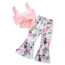 Girls Pink Bowknot Straps Top and Flowers Flared Pants Two-Piece Outfit