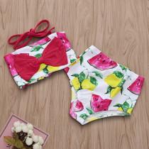 Toddler Girl Print Watermelon and Lemons Bowknot Bikinis