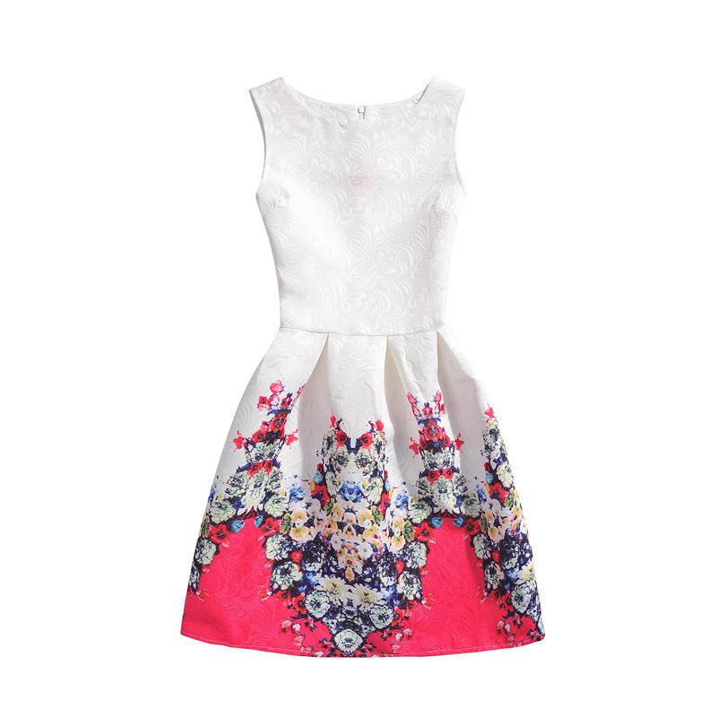 Girls Print Flowers A-line Sleeveless Dresses