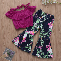 Girls Ruffles Pompom Blouse and Print Flamingos Flared Pant Two-Piece Outfit