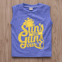 Boys Print Sun's Out Blue Tank Top