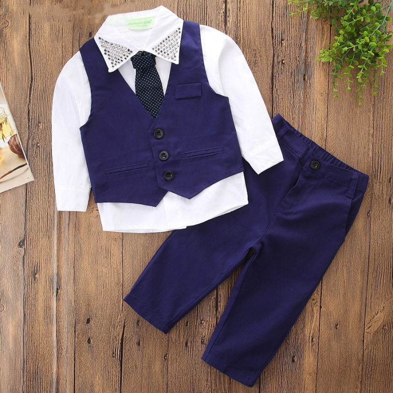 Boys 4-Piece Outfits White Long Sleeves Shirt Match Vest and Pant Dressy Up Clothes