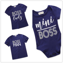 Family Matching Clothes Print Slogan Navy Tops