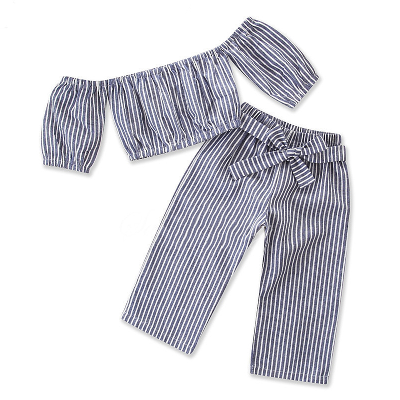 Girls Stripes Off The Shoulder Bloues and Pant Two-Piece Outfit