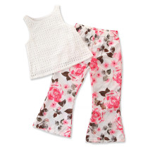 Girls Hollow Out Sleeveless Blouse and Flared Flowers Pant Two-Piece Outfit