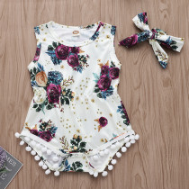 Baby Girl Print Flowers Pompom Bodysuit With Haiband