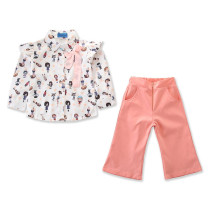 Girls Print Characters Ruffles Shirt and Pink Pant Two-Piece Outfit