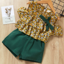 Girls Ruffles Cold-Shoulder Chiffon Blouse and Shorts Two-Piece Outfit