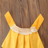 Baby Girl Yellow Tassels Blouse and Flowers Pompoms Shorts Skirt Two Pieces Outfits