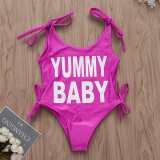 Mommy and Me Print Slogan Pink Swimsuit