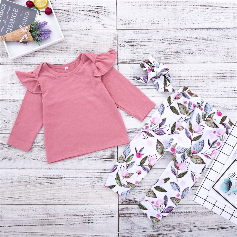 Baby Girl Ruffles Long Sleeves Tee and Leafs Pants Two Pieces Outfits with Hairband