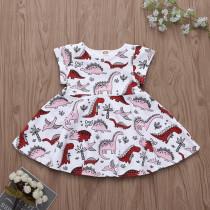 Toddler Girls Print Cartoon Dinosaurs Dress
