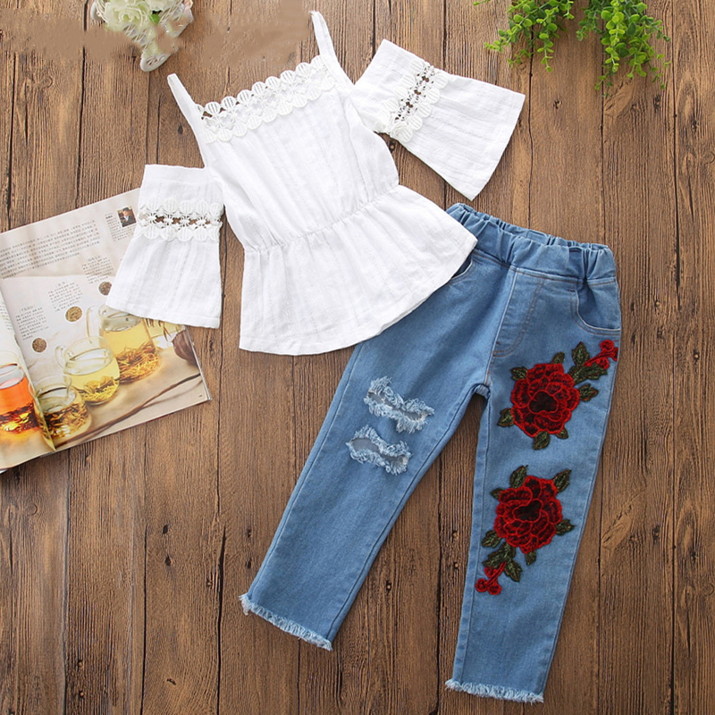 Girls White Crocheted Lace Blouse and Embroidery Rose Denim Jeans Two-Piece Outfit