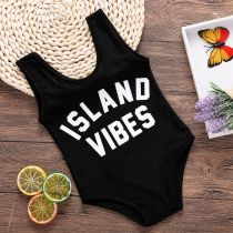Baby and Toddler Girl Print Slogans Swimsuit
