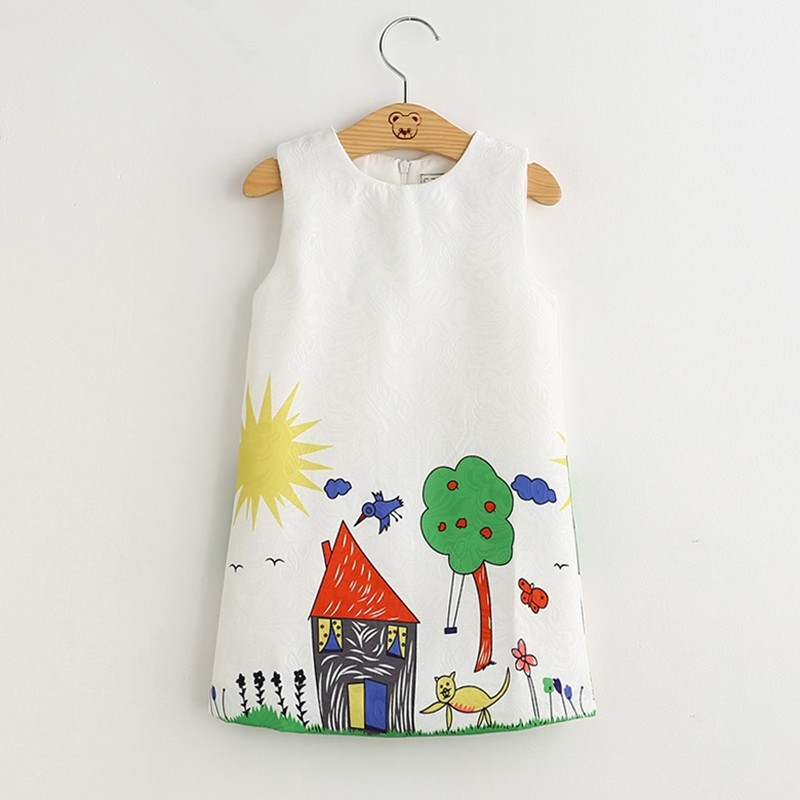 Girls Prints House Summer Sleeveless Dress
