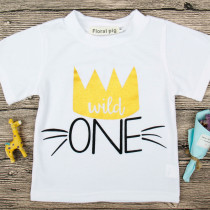 Boys Print One Slogan White T-shirts for 1 Years Old Birthday