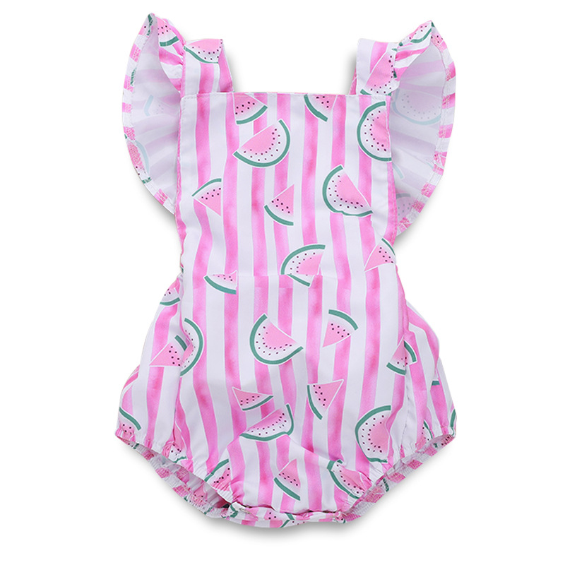 Baby Girl Pink Stripes Print Watermelon Ruffles Bodysuit