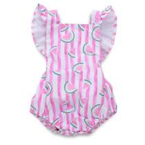 Baby Girl Pink Stripes Print Watermelon Ruffles Bodysuit