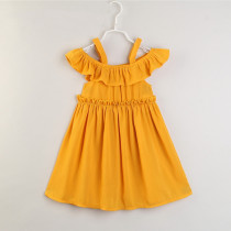 Mommy and Me Yellow Off The Shoulder Slip Dresses