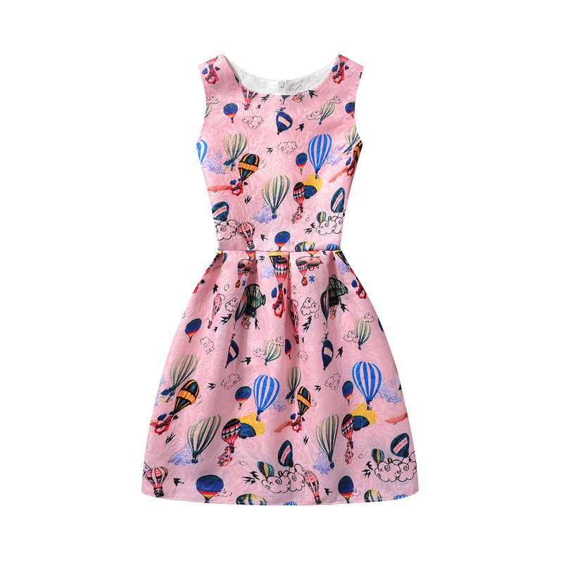 Girls Print Hot Air Balloon A-line Sleeveless Dresses