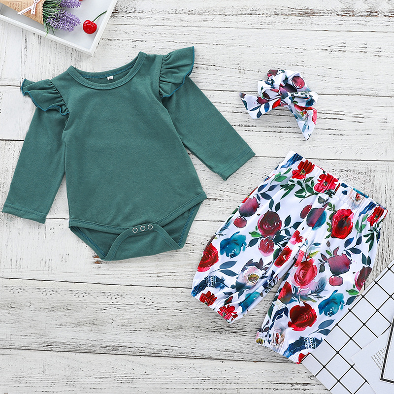 Baby Girl Ruffles Long Sleeves Bodysuit and Rose Flowers Pants Two Pieces Outfits with Hairband