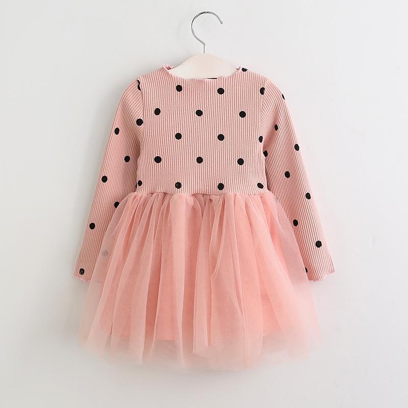 Girls Prints Dots Long Sleeves Tutu Dress