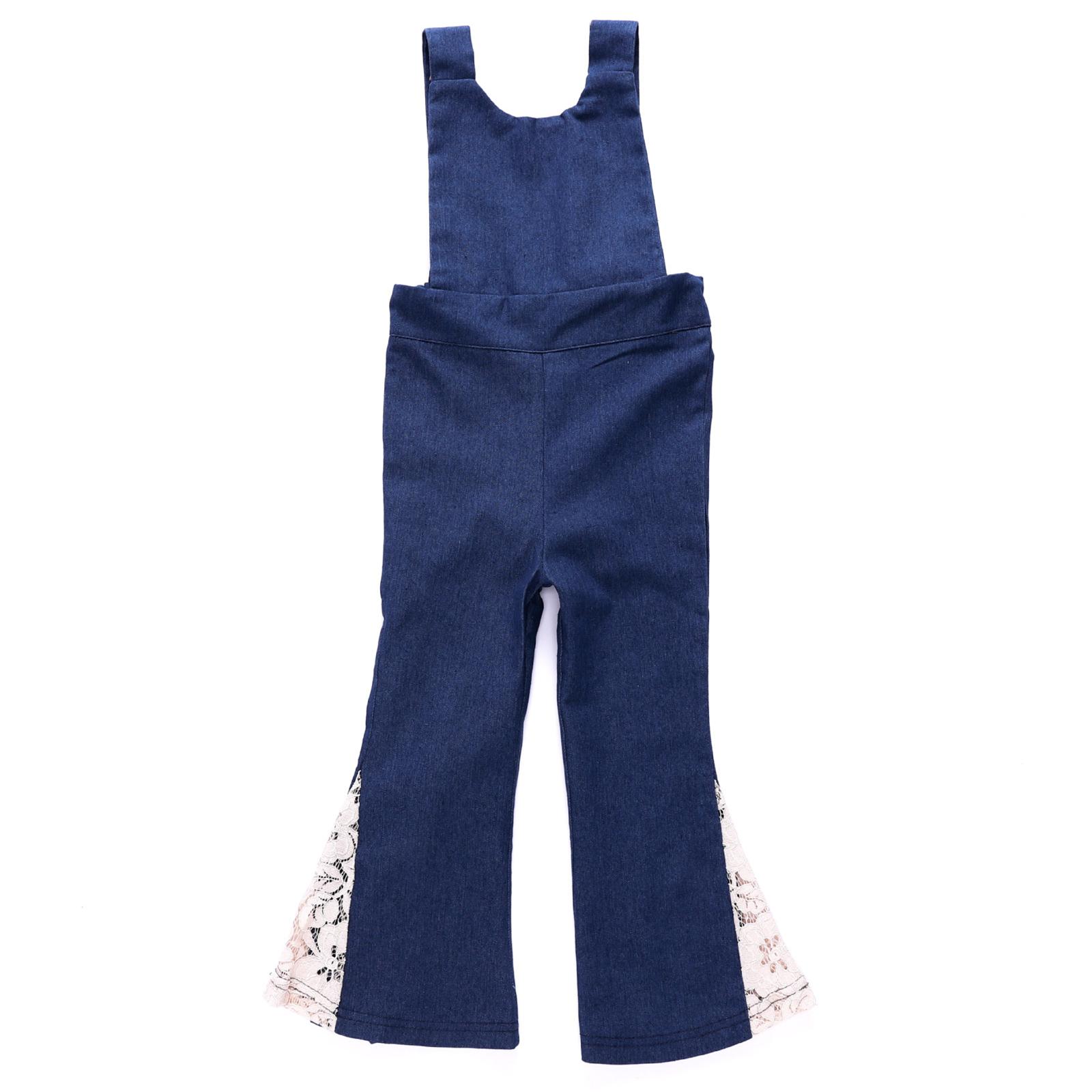 Girls Lace Flared Dark Blue Denim Jumpsuits