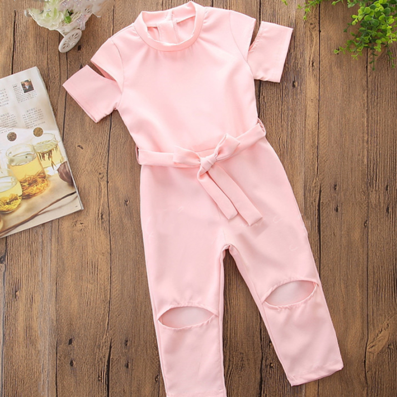 Girls Pure Color Bowknot Cut Out Jumpsuits