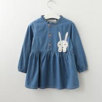 Girls Print Rabbit Long Sleeves Denim Dress