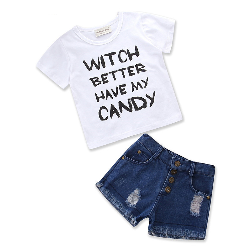 Girls White Slogan T-shirt and Ripped Jeans Shorts Two-Piece Outfit