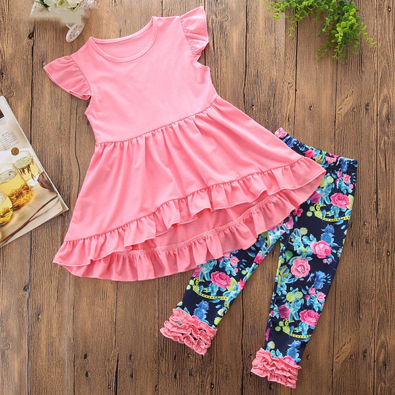 Girls Pink Ruffles Top and Print Flowers Pant Two-Piece Outfit