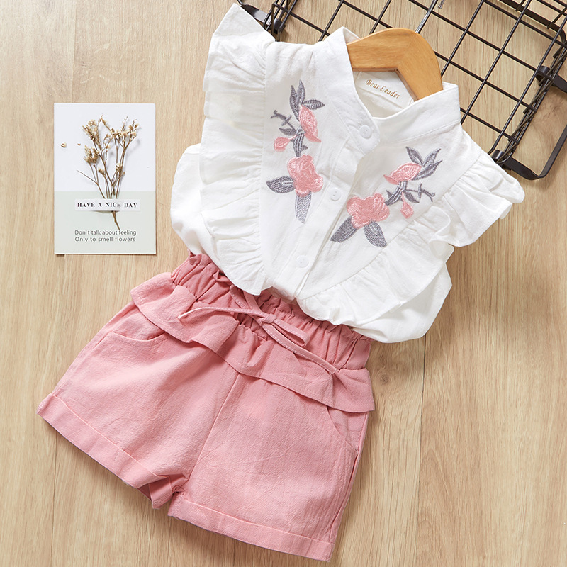 Girls Ruffles Embroidery Flowers Blouse and Pink Shorts Two-Piece Outfit