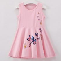 Girls Print Butterfly A-line Sleeveless Dress