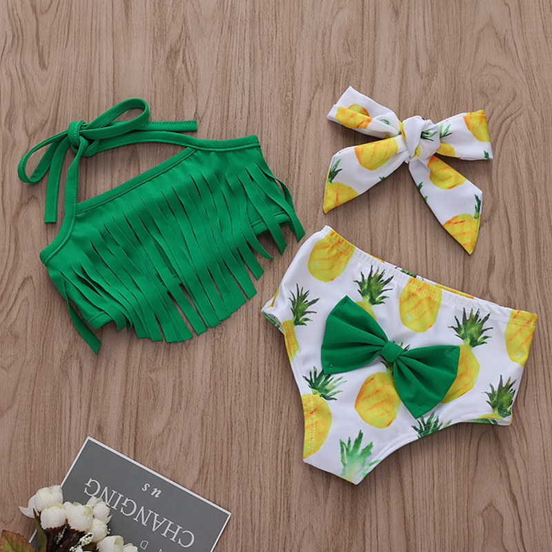 Baby and Toddler Girl Green Tassels Print Pineapples Bikinis
