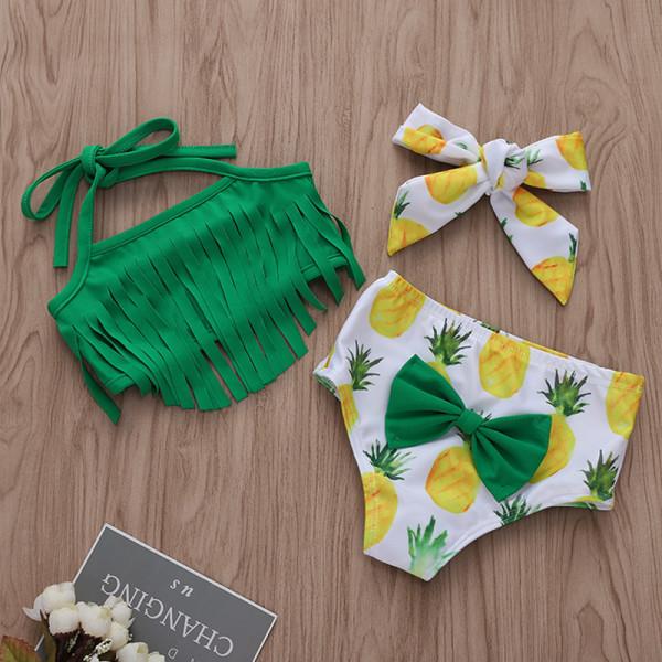 Baby and Toddler Girl Green Tassels Print Pineapples Bikinis
