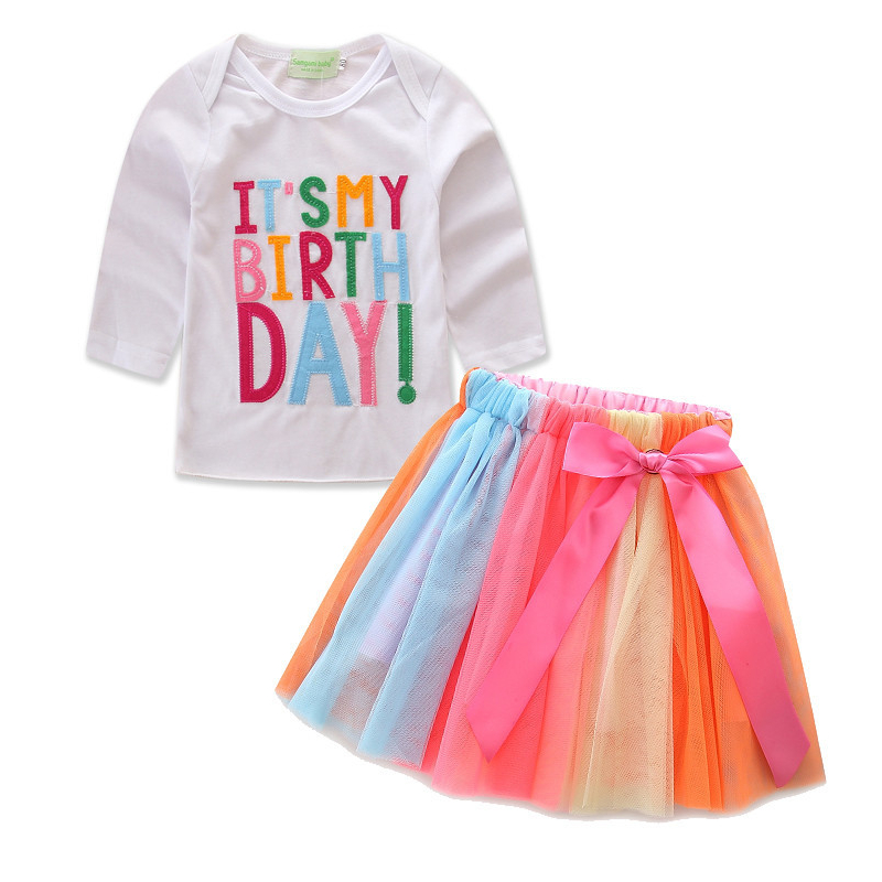 Girls Birthday Long Sleeves Tee and Colorful Tutu Skirt Two-Piece Outfit