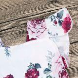 Baby Girl Print Flowers Ruffles Bodysuit
