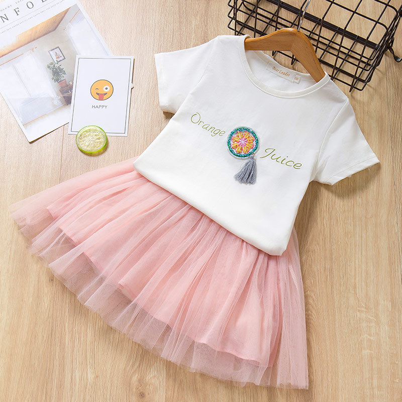 Girls Beading Embroidery Orange T-shirt and Tutu Skirt Two-Piece Outfit