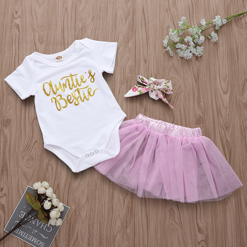 Baby Girl Print Slogans Short Sleeves Bodysuit and Pink Tutu Skirts Two Pieces Outfits