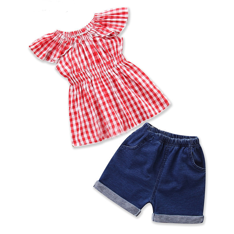 Girls Red Ruffles Plaids Blouse and Blue Denim Shorts Two-Piece Outfit