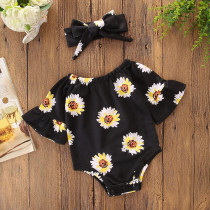 Baby and Toddler Girl Prints Flowers Black Swimsuit With Hairband