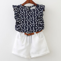 Girls Ruffles Flowers Sleeveless Blouse and White Shorts Two-Piece Outfit
