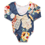 Baby Girl Print Flowers Long Sleeve Cotton Bodysuit With Lace Bowknot