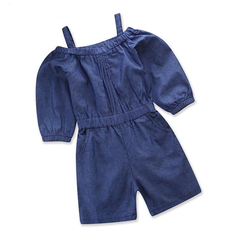 Girls Blue Slip Off The Shoulder Denim Romper Jumpsuits